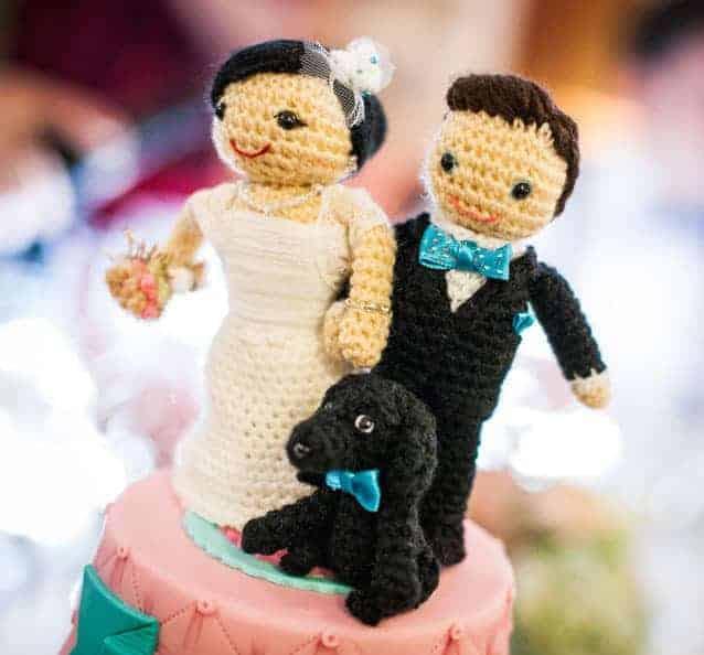 Muñecos de crochet para tarta de bodas