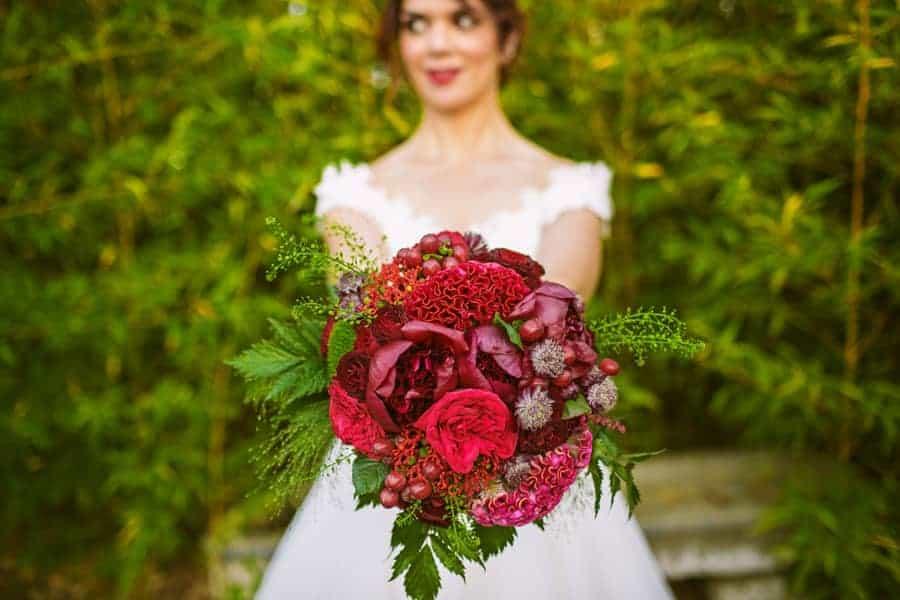 bouquet rojo novia