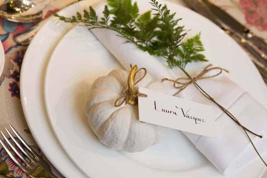 decoración mesas con calabazas