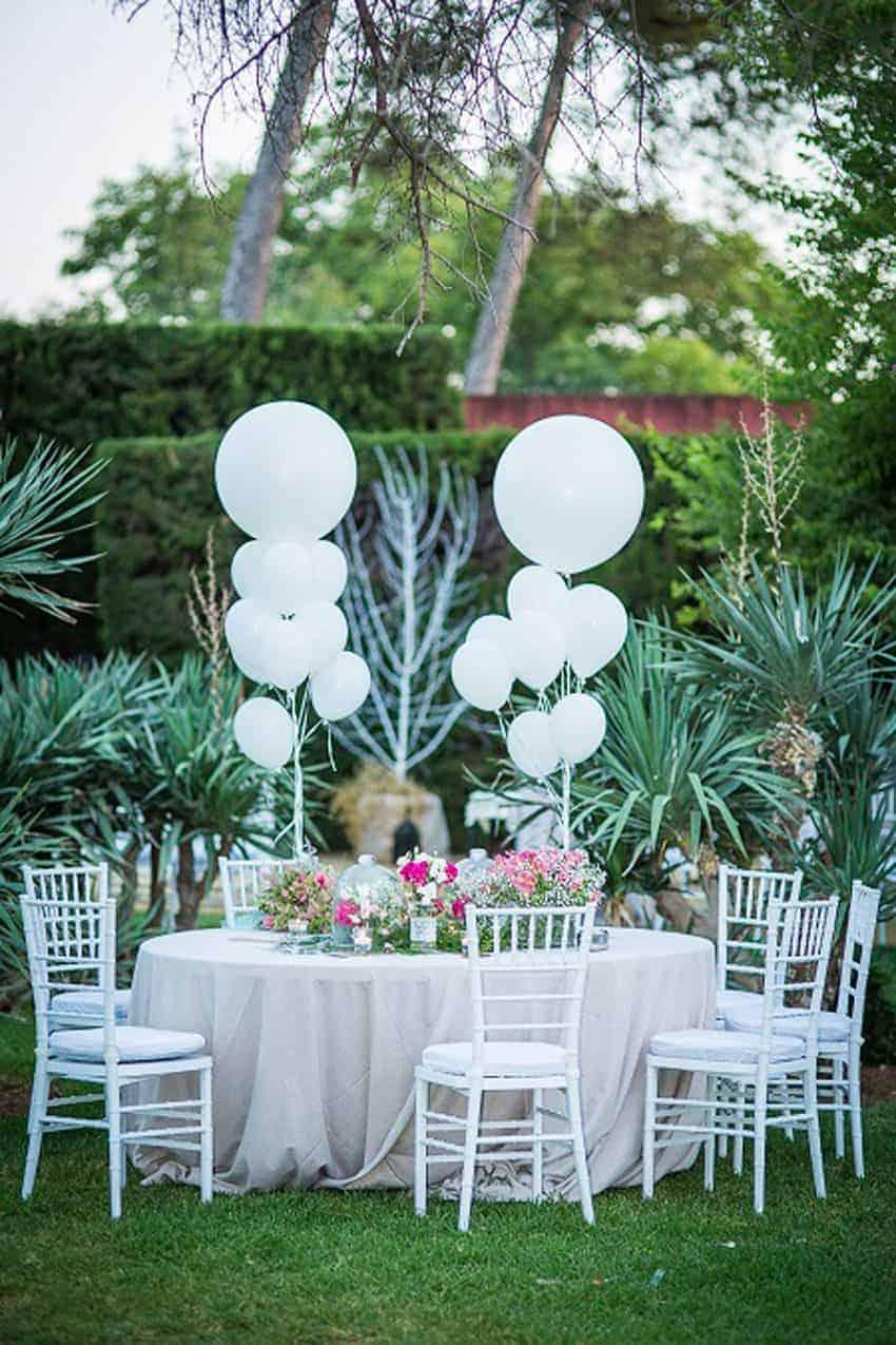 mesa de celebración globos